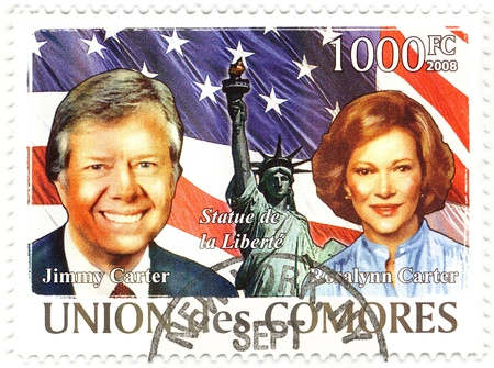 stamp with 39th president of USA Jimmy Carter and his wife Rosalynn Stock Photo - 16586011