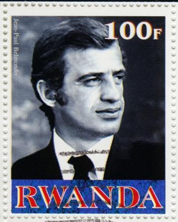 postmarked: RWANDA - CIRCA 2003   stamp printed in Rwanda shows Jean Paul Belmondo an French actor, circa 2003