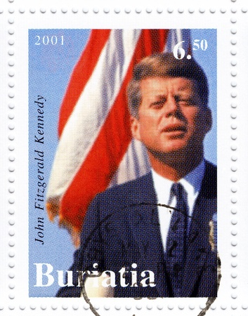 kennedy: BURATIA - CIRCA 2001   Stamp printed in Burata shows 35th president of USA - John Fitzgerald Kennedy, circa 2001