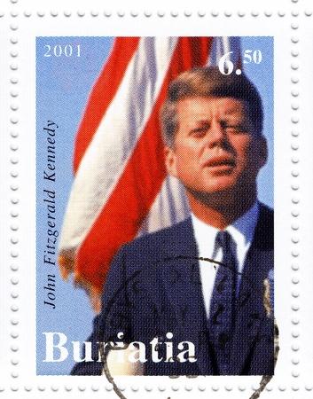 john fitzgerald kennedy: BURATIA - CIRCA 2001   Stamp printed in Burata shows 35th president of USA - John Fitzgerald Kennedy, circa 2001