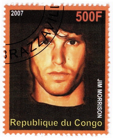 filmmaker: Congo - CIRCA 2007   Stamp printed in Congo with American singer, songwriter, poet, writer and filmmaker Jim Morrison, leader Doors group, circa 2007