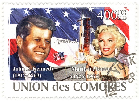 stamp with 35th president of USA John Fitzgerald Kennedy and Marilyn Monroe