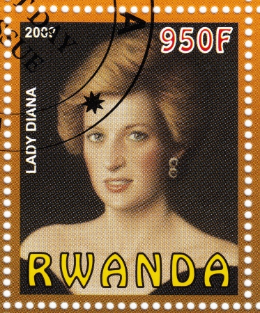 spencer: RWANDA - CIRCA 2007   stamp printed in Rwanda shows The Lady Diana Spencer, circa 1977