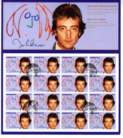 john lennon: AZERBAIJAN - CIRCA 2007   Stamp printed in Azerbaijan shows John Lennon singer from The Beatles in 1960s famous musical pop group, circa 2007