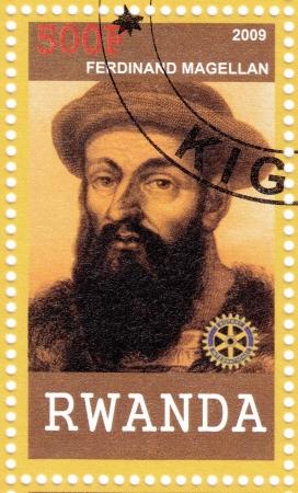 RWANDA - CIRCA 2009  stamp printed in Rwanda shows Ferdinand Magellan - great Portuguese explorer, circa 2009