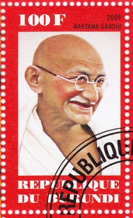 indian postal stamp: BURUNDI - CIRCA 2009  stamp printed in Burundi with Mahatma Gandhi , circa 2009