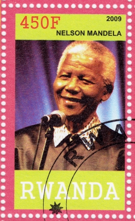 nobel: RWANDA - CIRCA 2009   Nelson Mandela - former President of South Africa, has received 1993 Nobel Peace Prize, circa 2009 Editorial