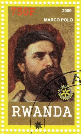 RWANDA - CIRCA 2009  Stamp printed in Rwanda shows Marco Polo - merchant from the Venetian Republic who wrote Il Milione, which introduced Europeans to Central Asia and China, circa 2009 Stock Photo - 16585981