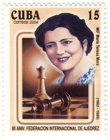 awarded: Stamp with great cuban chess player Maria Teresa Mora  Awarded the WIM title in 1950 she was a Women Editorial