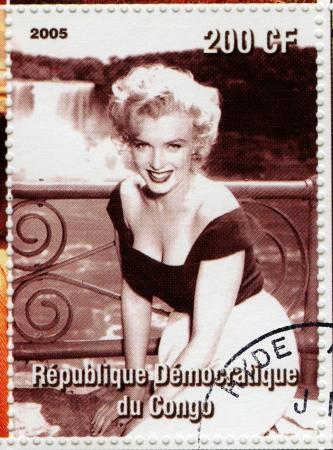 CONGO - CIRCA 2005 sello impreso en el Congo con Marylyn Monroe actriz popular en la década de 1960, alrededor del año 2005 Editorial