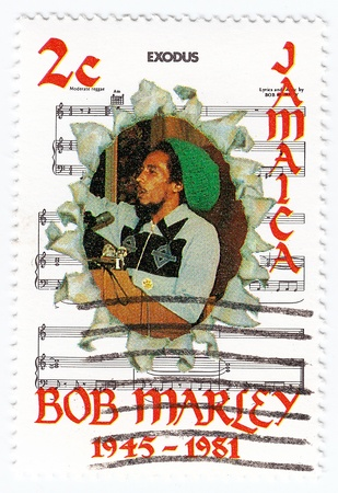 bob: JAMAICA - CIRCA 1981   stamp printed in Jamaica with Bob Marley and notes of his song Exodus, circa 1981
