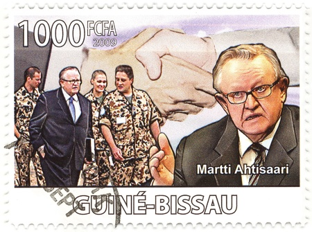 diplomat: stamp with Martti Ahtisaari President of Finland 1994�2000, 2008 Nobel Peace Prize laureate and United Nations diplomat