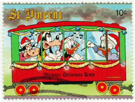 donald: ST  VINCENT - CIRCA 1988  Christmas stamp printed in St  Vincent show Mickey