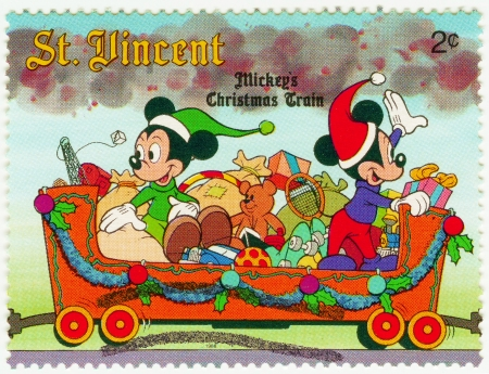 ST  VINCENT - CIRCA 1988  Christmas stamp printed in St  Vincent show Mickey