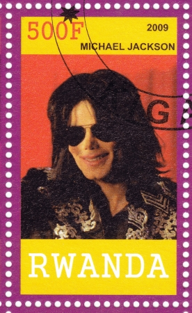 RWANDA - CIRCA 2009   Stamp printed in  Rwanda shows american pop singer Michael Jackson circa 2009 Stock Photo - 16585934
