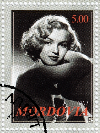MORDOVIA - CIRCA 2001   stamp printed in Mordovia with Marylyn Monroe popular actress in 1960s, circa 2001 Stock Photo - 16586033