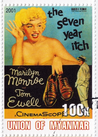 marilyn: MYANMAR - CIRCA 2001   Stamp printed in Myanmar with  popular 1960s American actress Marilyn Monroe and Tom Ewell in The Seven Year Itch film poster, circa 2001 Editorial