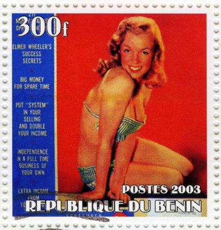 BENIN - CIRCA 2003 : stamp printed in Benin showing Marilyn Monroe popular actress in 1960s, circa 2003 Stock Photo - 16586027