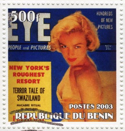 BENIN - CIRCA 2003 : stamp printed in Benin showing Marilyn Monroe popular actress in 1960s, circa 2003 Stock Photo - 16585985