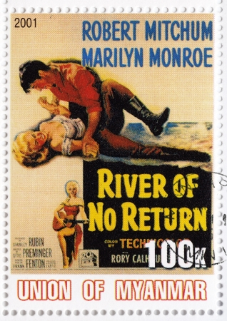 marilyn: MYANMAR - CIRCA 2001 : Stamp printed in Myanmar with popular 1960s American actress Marilyn Monroe and Robert Mitchum in The River of No Return film poster, circa 2001  Editorial