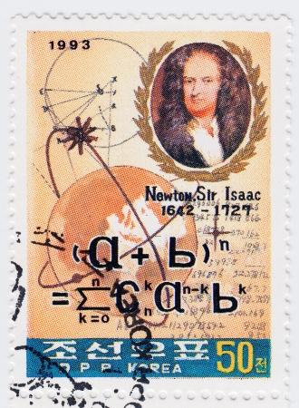 KOREA - CIRCA 1993 : Sir Isaac Newton - great English physicist, mathematician, astronomer, natural philosopher, alchemist, and theologian, circa 1993 Stock Photo - 16585949
