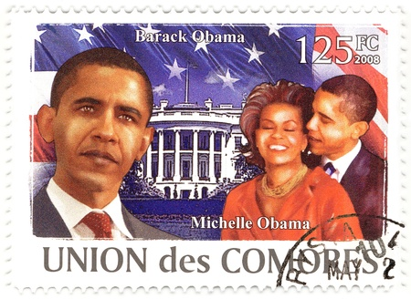 comores: COMORES - CIRCA 2008 : stamp printed in Comores shows 44th President of USA - Barack Obama (L) and his wife Michelle, circa 2008 Editorial