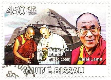 catholism: stamp with Dalai Lama and Papa John Paul II