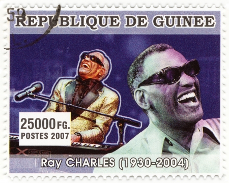 postmarked: REPUBLICA GUINEA - CIRCA 2007 : Ray Charles - famous american singer and jazz-man