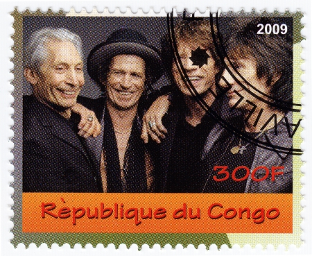 CONGO - CIRCA 2007 : stamp printed in Congo with  music group Rolling Stones, circa 2007 Editorial
