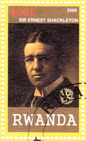 ernest: RWANDA - CIRCA 2009: Stamp printed in Rwanda shows Sir Ernest Shackleton Anglo-Irish explorer Antarctic, circa 2009
