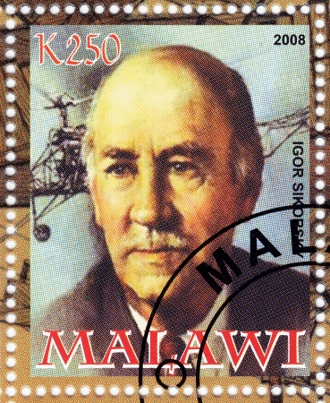 fixed wing aircraft: MALAWI - CIRCA 2008 : Igor Sikorsky - Russian-American pioneer of aviation in both helicopters and fixed-wing aircraft, circa 2008