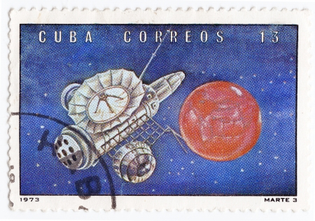 CUBA - CIRCA 1973 : stamp printed in Cuba shows the soviet Mars space station, circa 1973