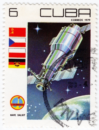 CUBA - CIRCA 1979 : stamp printed in Cuba shows the soviet international exploration space, circa 1979