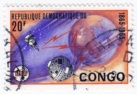 astronautics: CONGO - CIRCA 1965 : Stamp printed in Congo shows Explorations of space, circa 1965