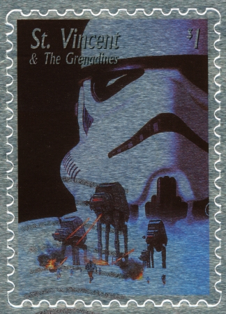 starwars: St. VINCENT - CIRCA 2003 : stamp printed in St.Vincent with poster Star Wars movie show Soldier and attack Empire, circa 2003