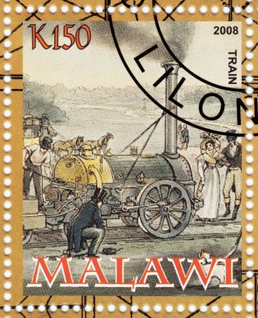 MALAWI - CIRCA 2008 : stamp printed in Malawi shows first american locomotive, circa 2008