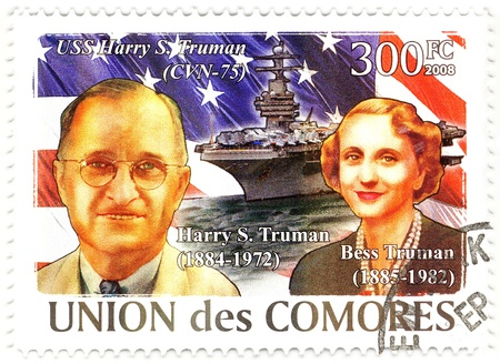 harry: stamp with 33th president of USA Harry Truman and his wife Bess Truman