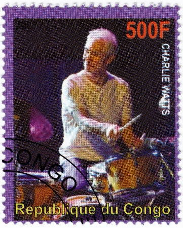 watts: CONGO - CIRCA 2007 : stamp printed in Congo with Charles Watts drummer from music group Rolling Stones, circa 2007