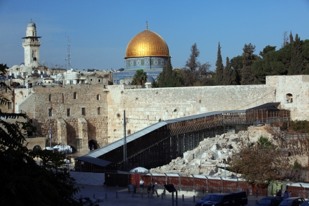 kotel: Western Wall (Wailing Wall, Kotel) and Dome of the Rock Al-Aqsa in Jerusalem, Israel