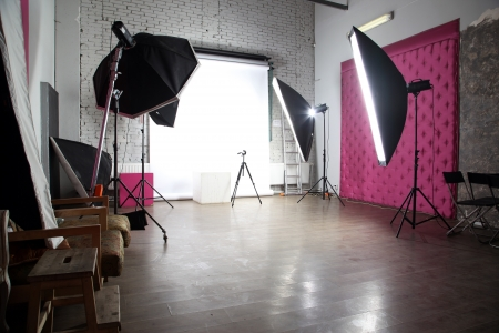 photo studio background: interior of a modern photo studio
