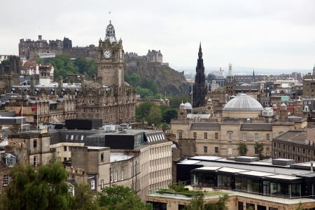 Classic Edinburgh from Calton Hill including Edinburgh Castle, Balmoral Hotel and Scott Monument, UK photo