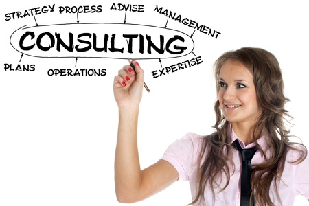 expertize: businesswoman drawing plan of consulting
