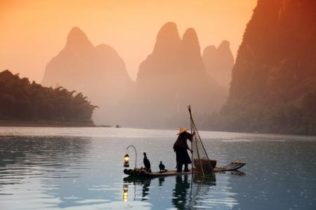 hombre pescando: Pesca del hombre chino con aves cormoranes, Yangshuo, Guangxi regi�n, el uso tradicional de pescadores capacitados cormoranes para pescar