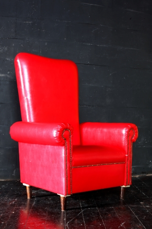Red Big Armchair In Black Room Stock Photo   18866916