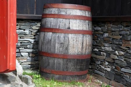 root beer: Old wood antique barrel Stock Photo