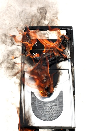 fire in computer case photo