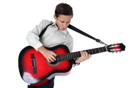 passionately: young guitar player performing very passionately on a white background  Stock Photo