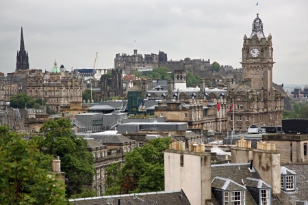Edinburgh from Calton Hill including Edinburgh Castle, Balmoral Hotel and Scott Monument , UK