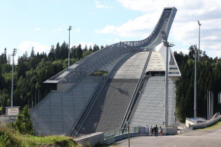Holmenkollen ski jump hill Oslo, Norway  The hill record is unofficially held by Anders Jacobsen at 142 5 meters Stock Photo - 21839703