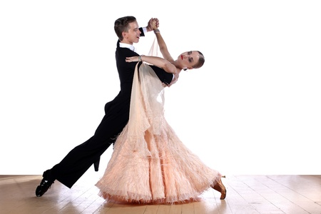 classical dance: dancers in ballroom against white background